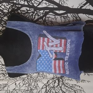 MTV Blue Acid Wash Cropped Muscle Tank Top
